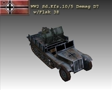 ww2 german sd.kfz.105 demag d7 3d modelo 3ds max x lwo ma mb obj 103984