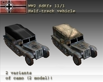 ww2 german sdkfz 111 half track 3d model 3ds max x lwo ma mb obj 103969