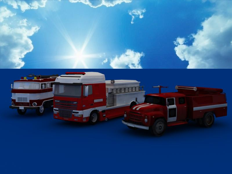 fire truck collection 3d model 3ds max dxf dwg fbx obj 120188
