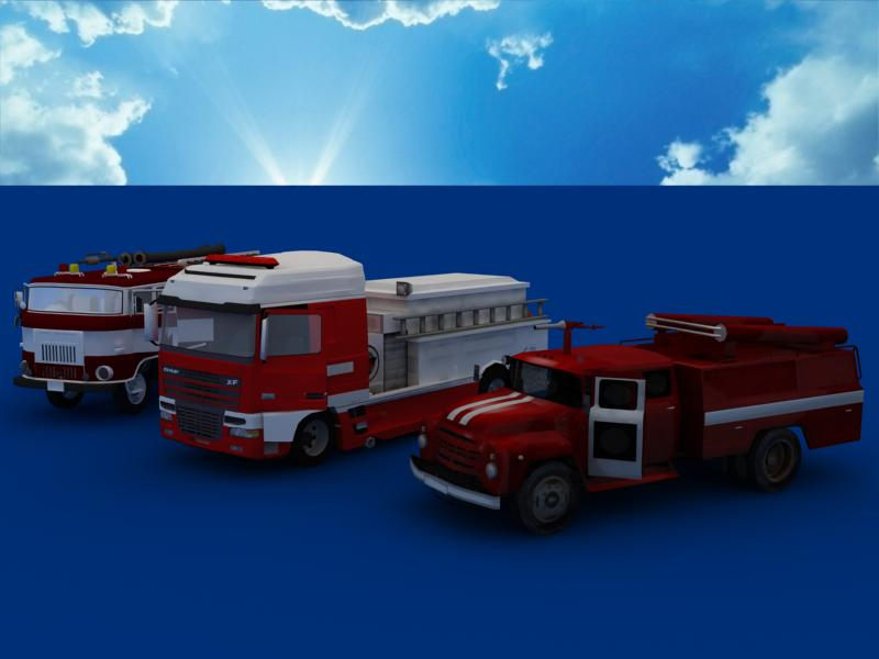 fire truck collection 3d model 3ds max dxf dwg fbx obj 120203