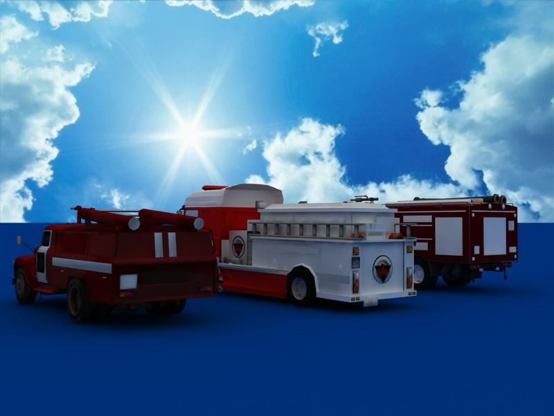 fire truck collection 3d model 3ds max dxf dwg fbx obj 120206