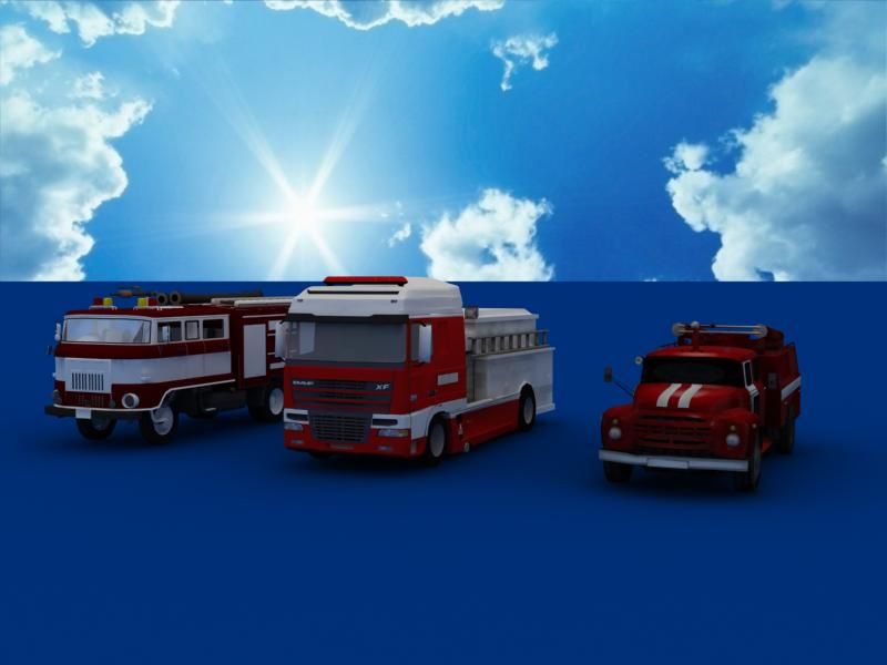 fire truck collection 3d model 3ds max dxf dwg fbx obj 120207