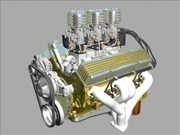 3 × 2 stromberg chevrolet v8 engine 3d model 3ds 88029
