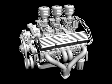 3×2 stromberg chevrolet v8 engine 3d model 3ds 88033