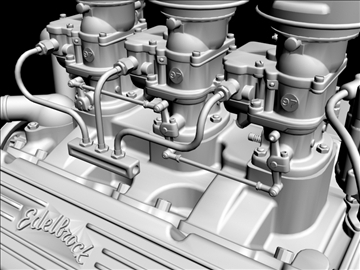3×2 stromberg chevrolet v8 engine 3d model 3ds 88035
