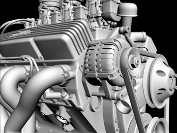 3×2 stromberg chevrolet v8 engine 3d model 3ds 88037