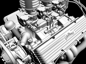 3×2 stromberg chevrolet v8 engine 3d model 3ds 88038