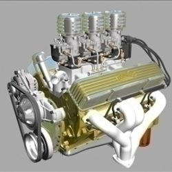 3x2 Stromberg Chevrolet V8 Engine ( 64.07KB jpg by ajwheels )