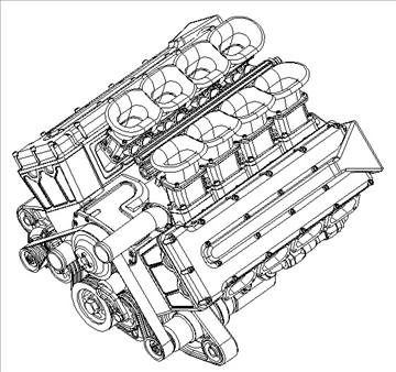4 cam race engine 3d model 3ds dxf 99042