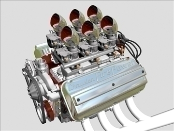 6 x 2 stromberg hemi v8 engine 3d model 3ds dxf 109561