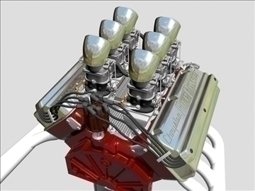 6 x 2 stromberg hemi v8 engine 3d model 3ds dxf 109562