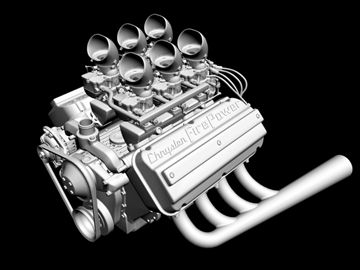 6 x 2 stromberg hemi v8 engine 3d model 3ds dxf 109565