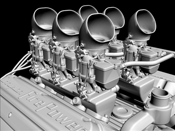 6 x 2 stromberg hemi v8 engine 3d model 3ds dxf 109568