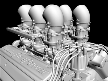 6 x 2 stromberg hemi v8 engine 3d model 3ds dxf 109569