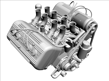 ardun flathead v8 engine 3d model 3ds dxf 98993
