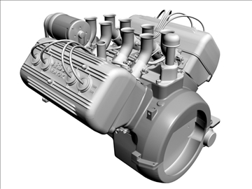 ardun flathead v8 engine 3d model 3ds dxf 98994