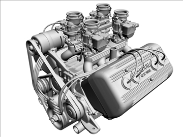 ardun stromberg v8 engine 3d model 3ds dxf 99345