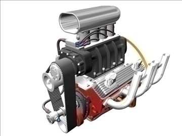 blown chevrolet v8 engine 3d model 3ds 88022