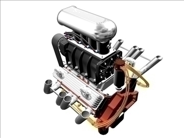 blown chevrolet v8 engine 3d model 3ds 88024