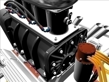 blown chevrolet v8 engine 3d model 3ds 88025