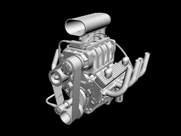blown chevrolet v8 engine 3d model 3ds 88026