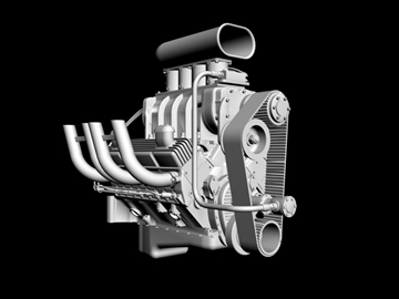 blown chevrolet v8 engine 3d model 3ds 88027