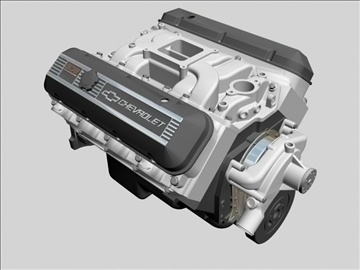 chevrolet big block v8 motor 3d model 3ds dxf 96371