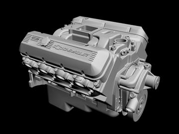 chevrolet big block v8 engine 3d model 3ds dxf 96378