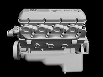 chevrolet big block v8 engine 3d model 3ds dxf 96380