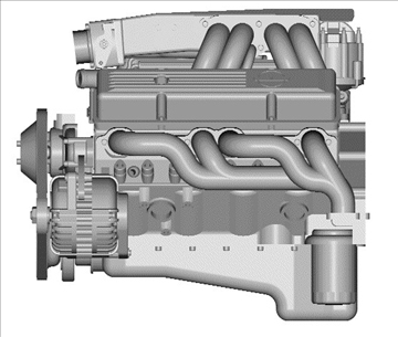 chevrolet tpi small block engine 3d model 3ds dxf 99003