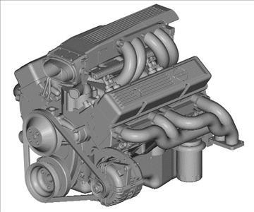 chevrolet tpi small block engine 3d model 3ds dxf 99004
