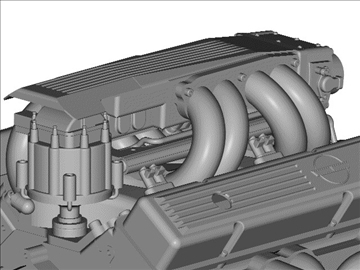 chevrolet tpi small block engine 3d model 3ds dxf 99006