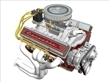 chevrolet v8 engine 3d model 3ds 87991