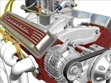 chevrolet v8 motor 3d model 3ds 87997