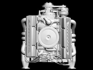 chevrolet v8 motor 3d model 3ds 87998