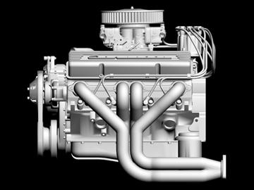 chevrolet v8 motor 3d model 3ds 87999