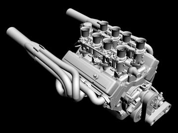 chevrolet weber v8 motor 3d model 3ds dxf 110872