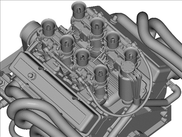 chevrolet weber v8 engine 3d model 3ds dxf 110875