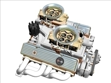 cross-ram chevrolet v8 engine 3d model 3ds 88829