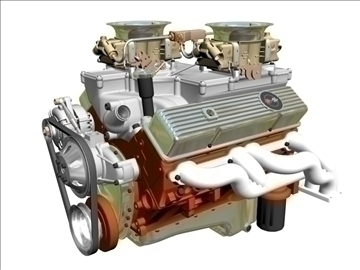 cross-ram chevrolet v8 engine 3d model 3ds 88830