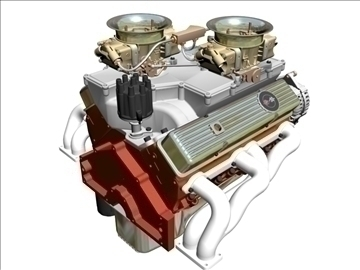 cross-ram chevrolet v8 engine 3d model 3ds 88833