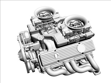 cross-ram chevrolet v8 engine 3d model 3ds 88836
