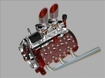 custom early flathead v8 engine 3d model 3ds dxf 99299