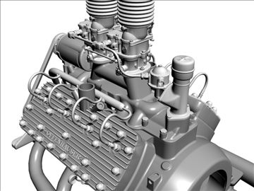 custom early flathead v8 engine 3d model 3ds dxf 99300