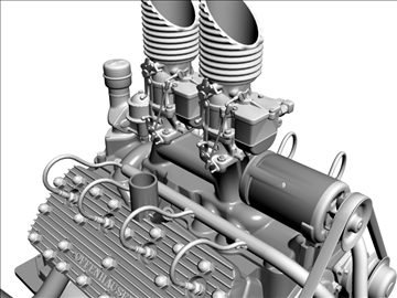 custom early flathead v8 engine 3d model 3ds dxf 99301