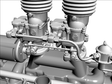 custom early flathead v8 engine 3d model 3ds dxf 99304