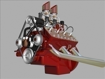 custom early flathead v8 engine 3d model 3ds dxf 99307