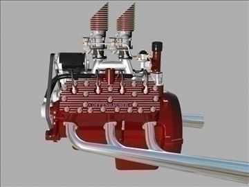 custom early flathead v8 engine 3d model 3ds dxf 99308