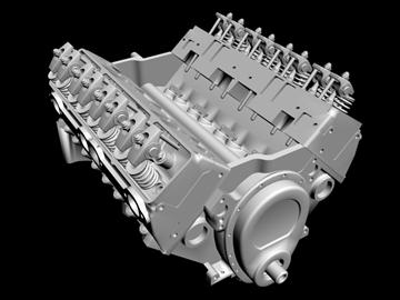 detailed v8 engine 3d model 3ds dxf 88010