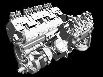 detailed v8 engine 3d model 3ds dxf 88011